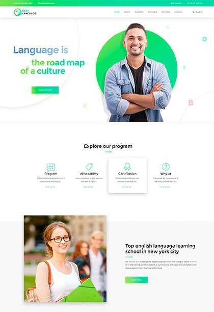 Language School Demo - Premium WordPress Theme