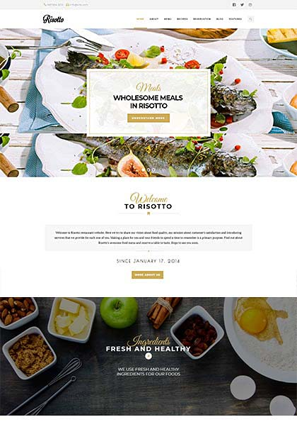 Risotto Restaurant Demo - Premium WordPress Theme