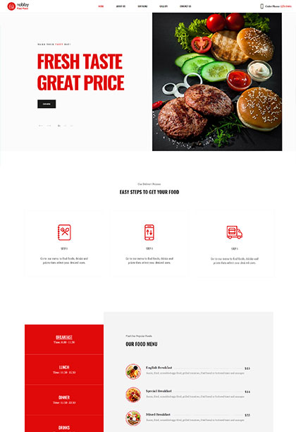 Fast food - Premium WordPress Theme